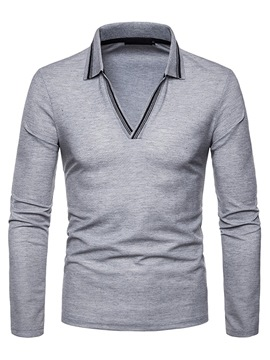 Ericdress Patchwork Slim Long Sleeve Mens Polo T Shirts Without Button