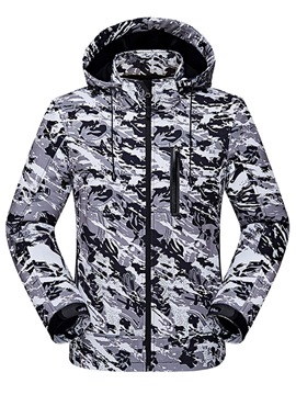 Ericdress Camouflage Hooded Zipper Mens Winter Jacket
