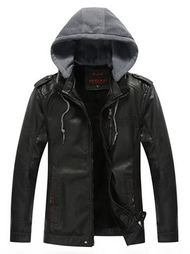 Ericdress Hooded Plain PU Leather Zipper Mens Winter Coats