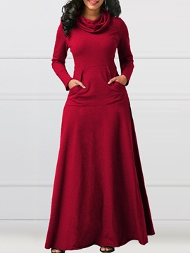 Ericdress Long Sleeves Heap Collar Plain Pockets Women's Dress