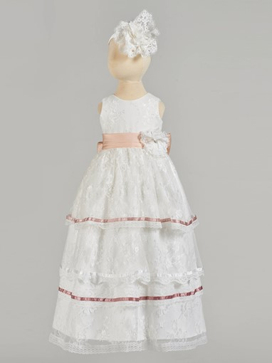 Ericdress A Line Scoop Neck Lace Girl's Christening Gown