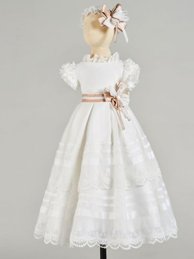 Ericdress A Line High Neck Short Sleeve Girl's Christening Gown