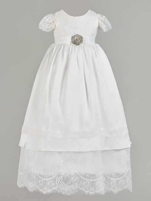 Ericdress A Line Cap Sleeve Beaded Girl's Christening Gown
