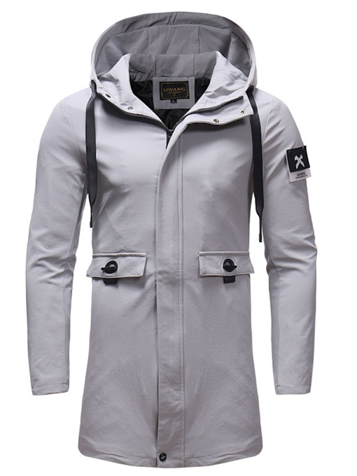 Ericdress Plain Hooded Zipper Slim Mens Casual Trench Coat