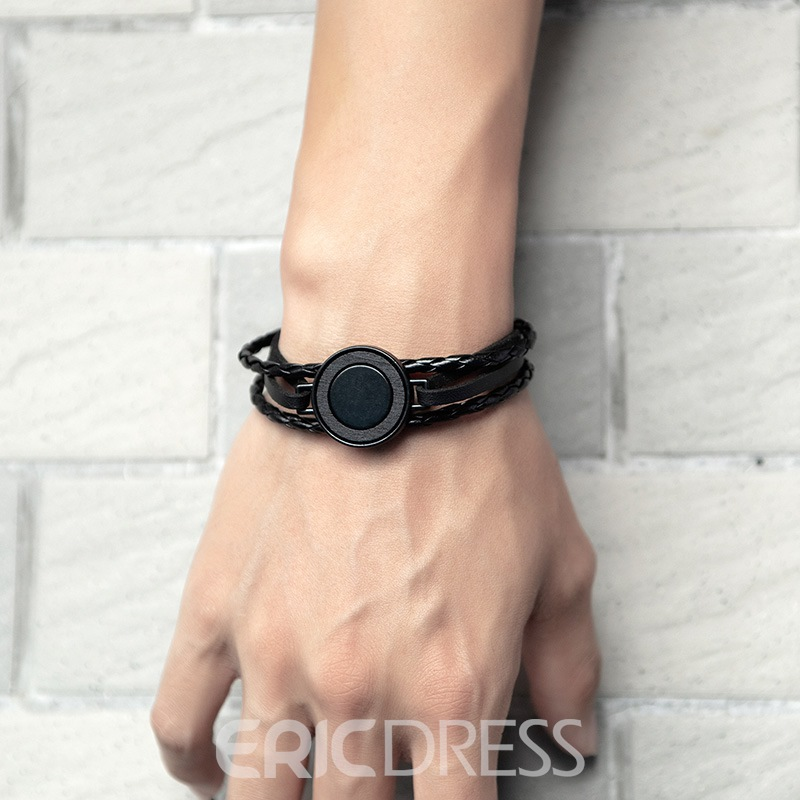 Ericdress Retro Round Learher Men's Bracelets