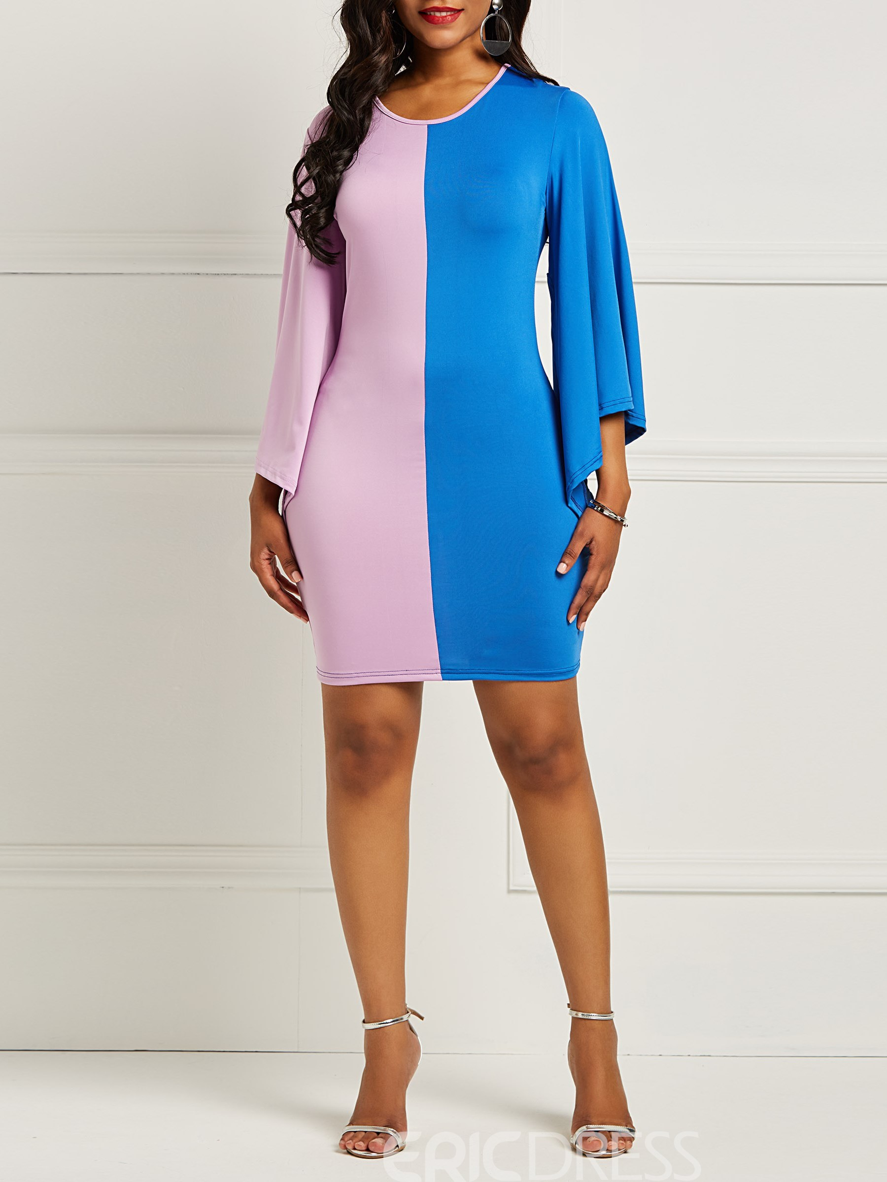 Ericdress Long Sleeves Color Block Women's Dress