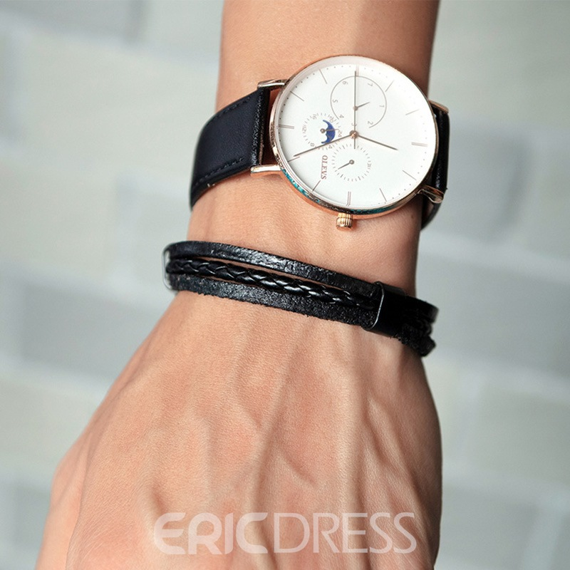 Ericdress Leather Strap Knit Men's Bracelet