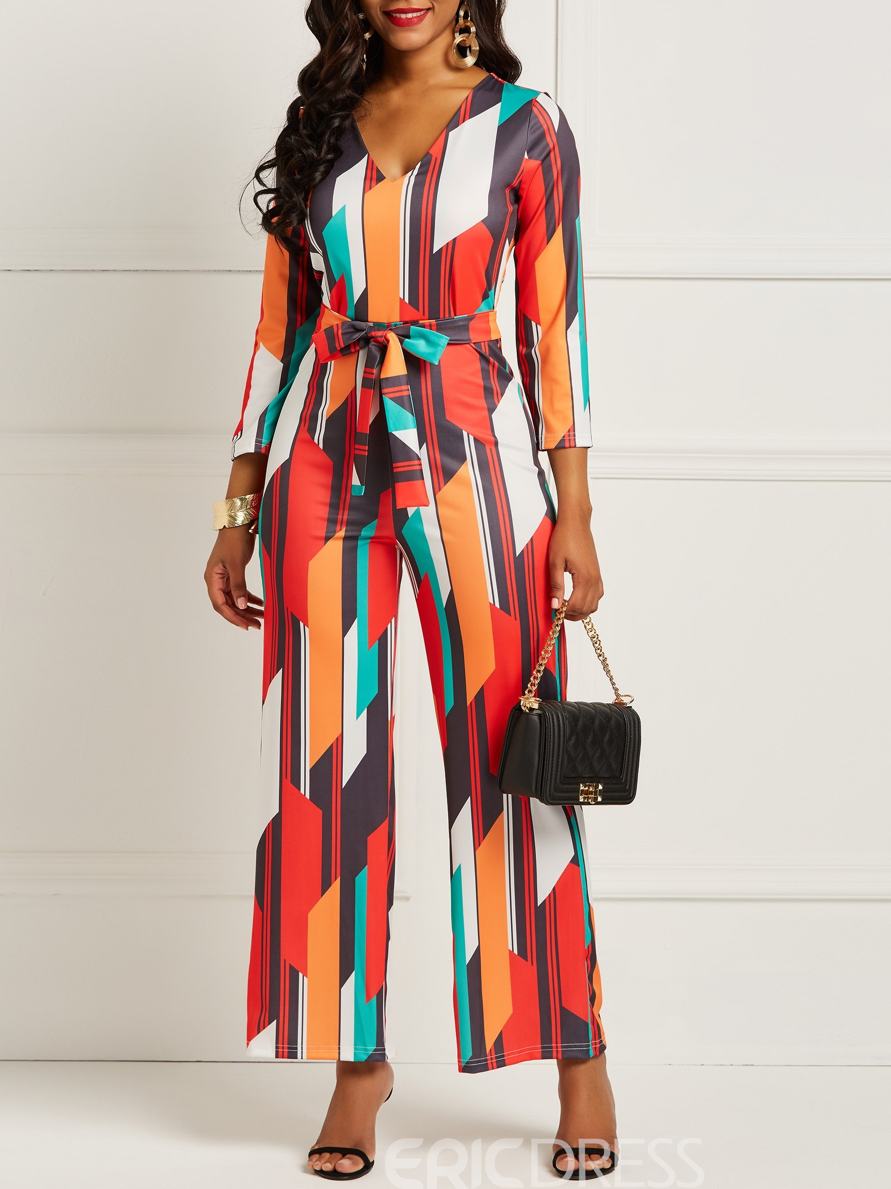 Ericdress Color Block Geometric Print Women's Jumpsuit