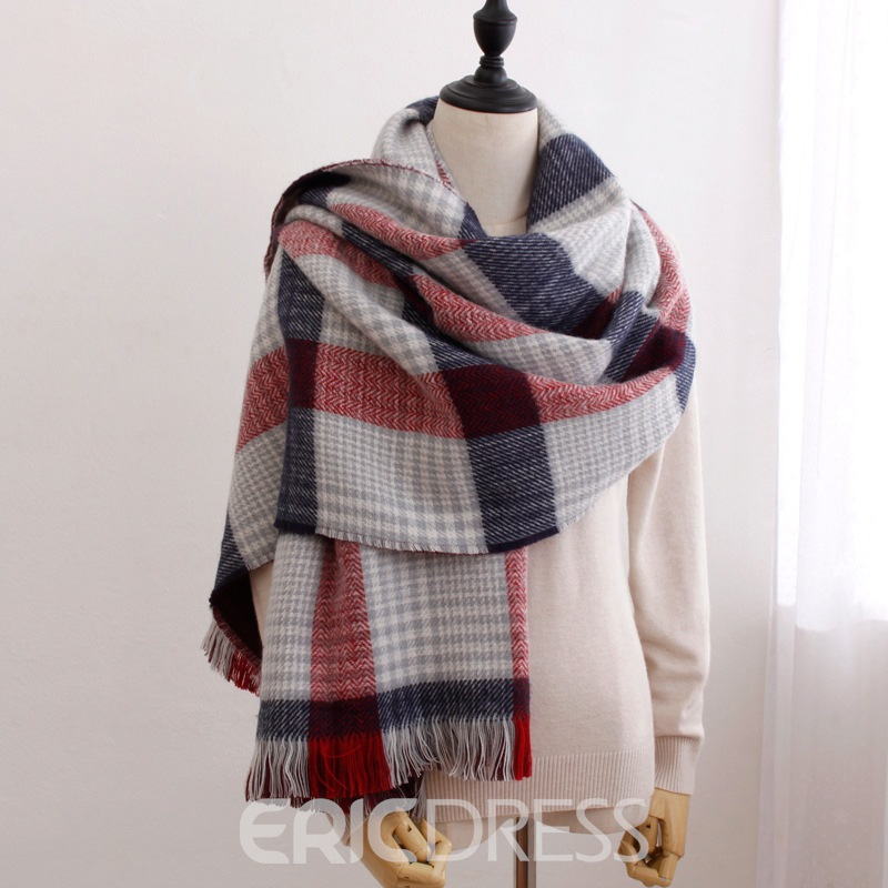 Ericdress Grid Warm Scarf For Women