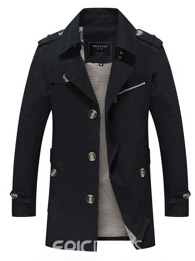 Ericdress Plain Button Slim Mid-Length Mens Casual Trench Coat