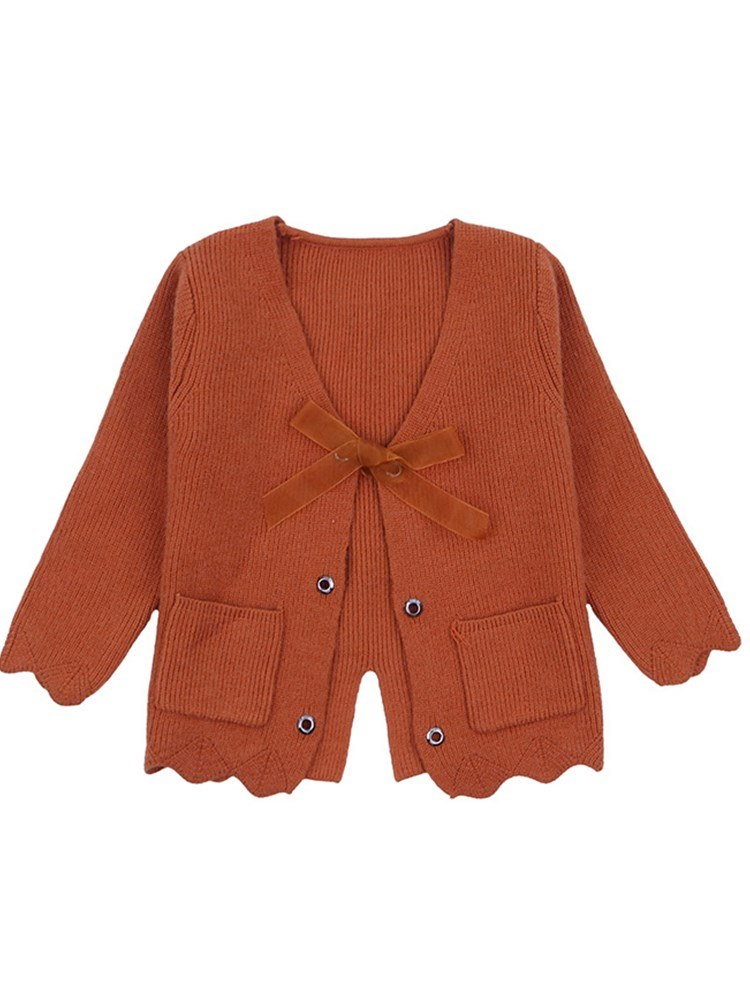 Ericdress Plain V-Neck Bowtie Girl's Casual Cardigan Sweaters