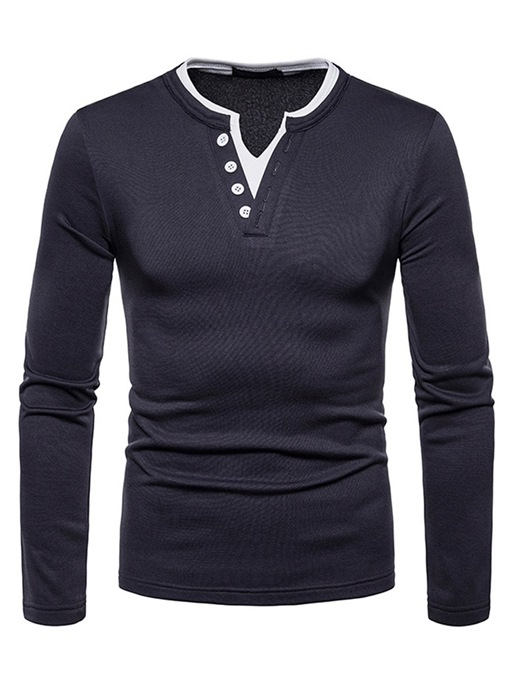 Ericdress Patchwork V-Neck Button Mens Casual T Shirts