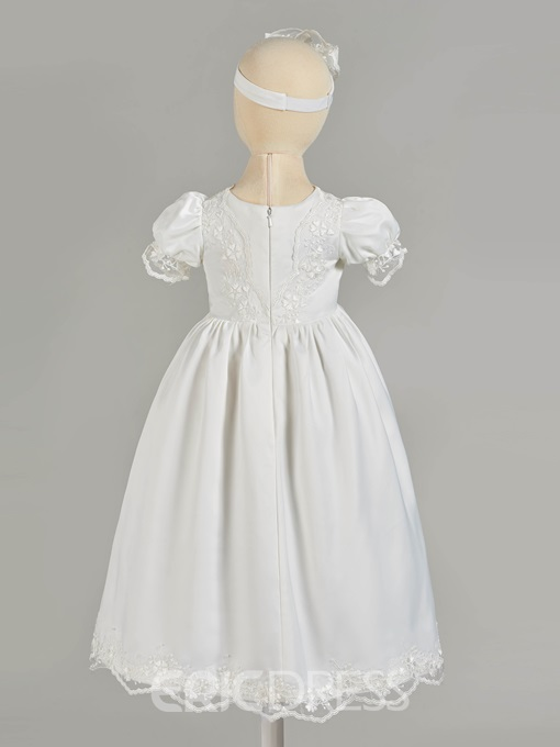 Ericdress Puffle Short Sleeve Appliques Baby Girl's Christening Gown