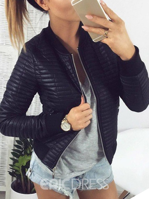 Ericdress Straight Zipper Long Sleeve Standard Fall Jacket