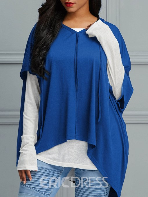 Ericdress Loose Color Block Patchwork Long Sleeves T-shirt
