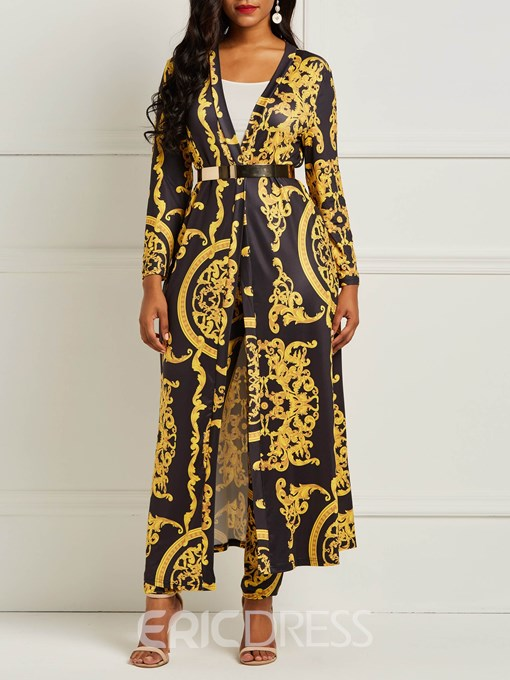 Ericdress Print Floral Trench Coat and Pencil Pants Women's Two Piece Set