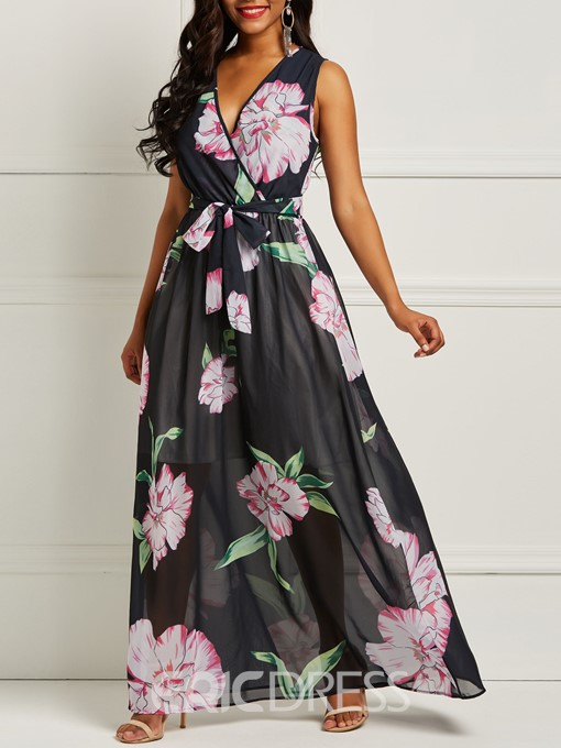 Ericdress Print Chiffon Sleeveless Floor-Length Women's Dress