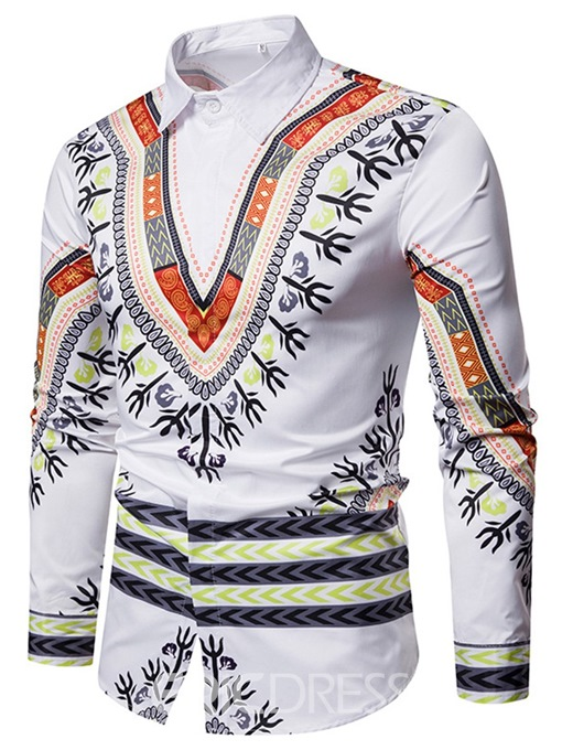 Ericdress Dashiki African Geometric Print Mens Casual Shirts