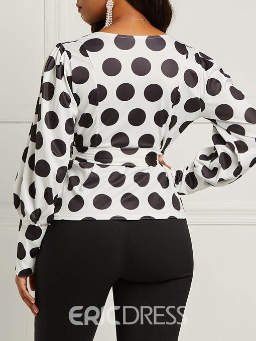 Ericdress Polka Dots V-Neck Lace-Up Print Blouse
