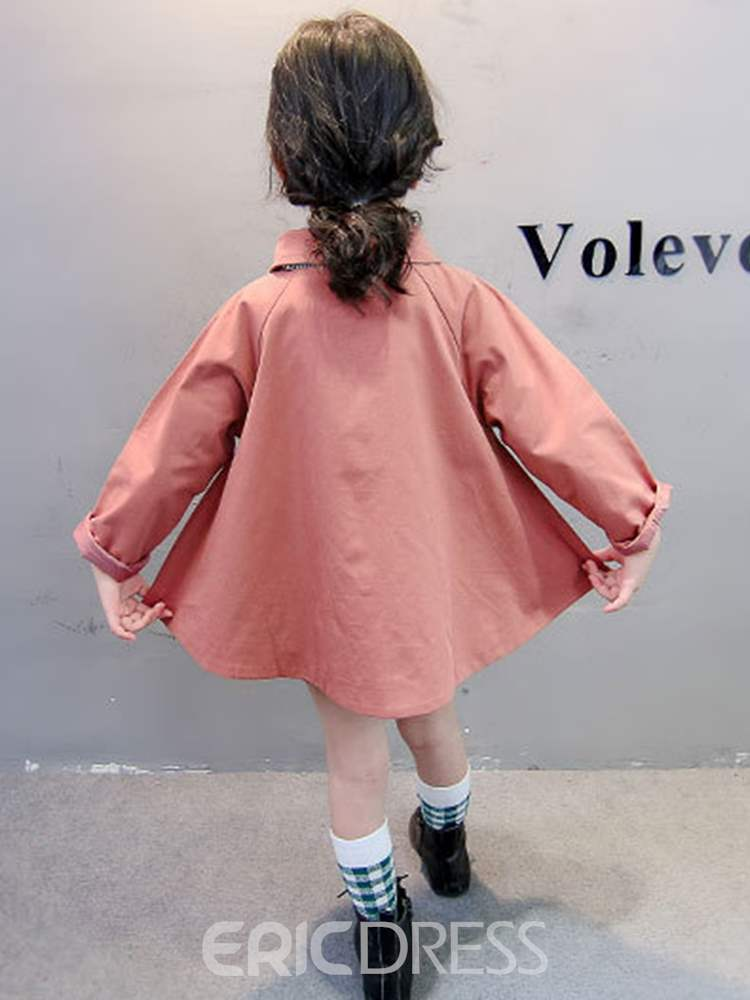 Ericdress Plain Lapel Mid-Length Baby Girl's Casual Trench Coat