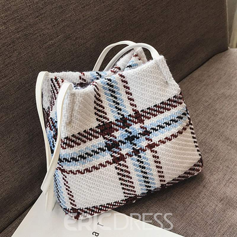 Ericdress Linen Color Block Magnetic Snap Shoulder Bag