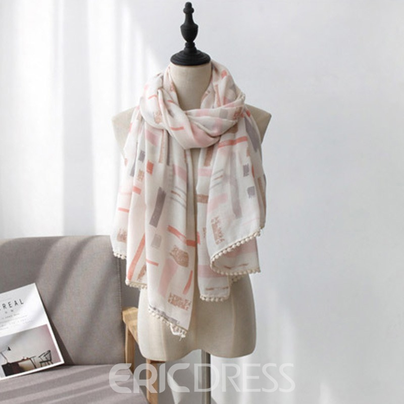 Ericdress Soft Tassels Pompons Scarf For Women