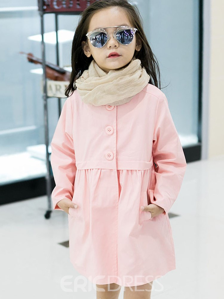 Ericdress Plain Single Breasted Mid-Length Girl's Casual Trench Coat