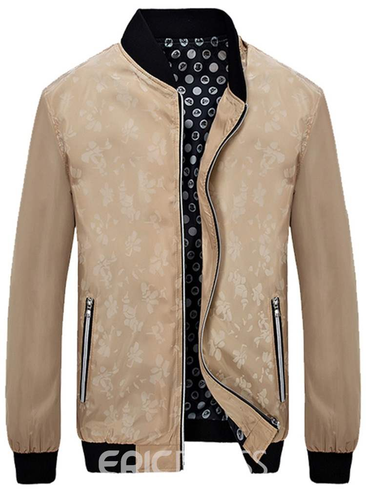 Ericdress Stand Collar Printed Zipper Mens Casual Jacket
