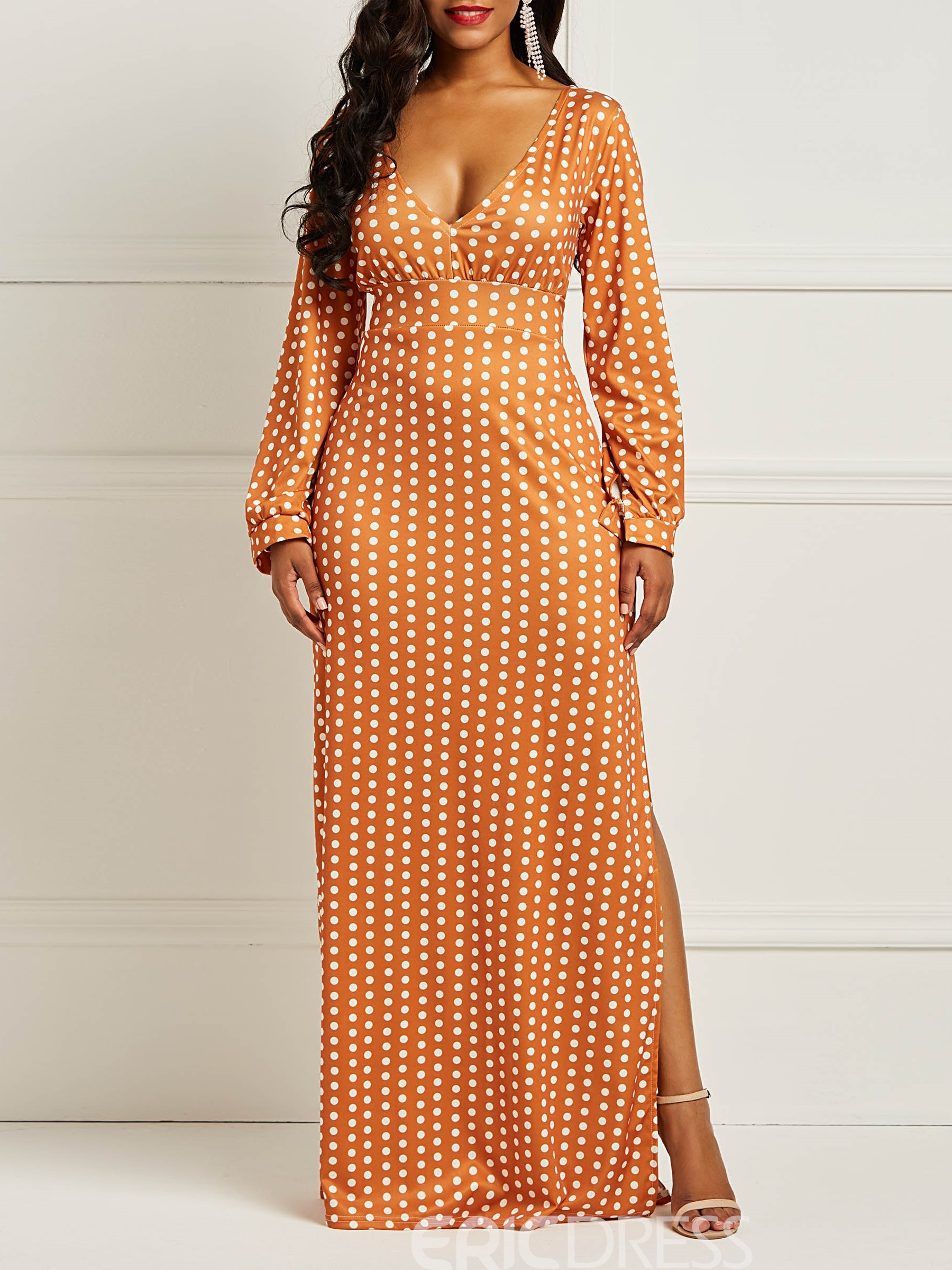 Ericdress Long Sleeves Polka Dots Women's Dress