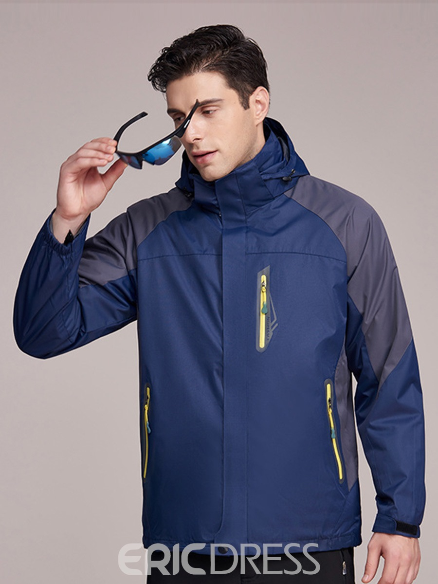 Ericdress Hiking Polyester Windproof Male Color Block Tops