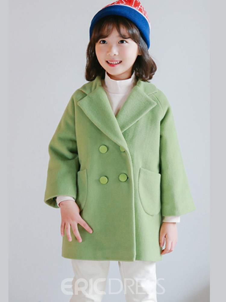 Ericdress Plain Double Breasted Lapel Girl's Casual Outerwears