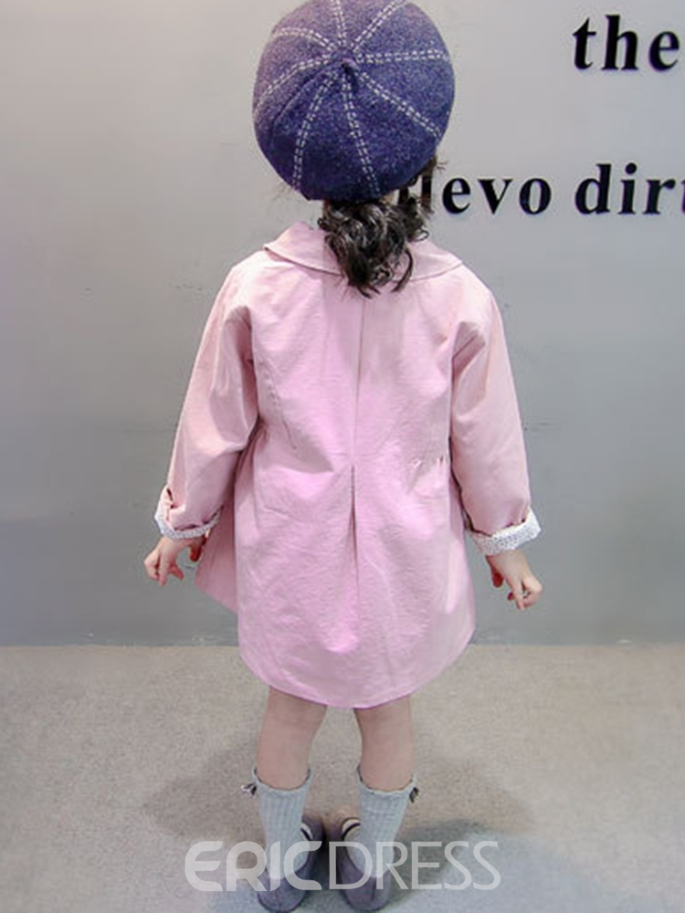 Ericdress Plain Bowknot Long Sleeve Lapel Baby Girl's Casual Outerwears