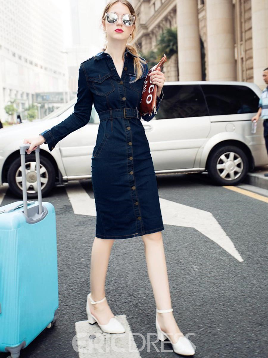 Ericdress Knee-Length Long Sleeve Dress