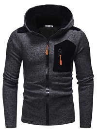 Ericdress Patchwork Plain Hooded Slim Zipper Mens Casual Hoodies