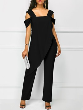 Ericdress Asymmetric Plain Backless Women's Jumpsuits