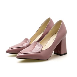Ericdress Plain Pointed Toe Chunky Heel Pumps