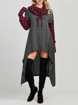 Ericdress Loose Heap Collar Color Block Cool Hoodie