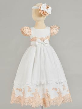 Ericdress A Line Cap Sleeve Applique Baby Girl's Christening Gown