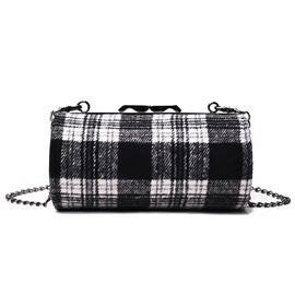Ericdress Plaid Color Block Chain Crossbody Bag