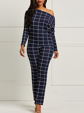 Ericdress Plaid Oblique Shoulder T-Shirt and Pants Women's Two-Piece Suit