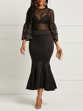 Ericdress See-Through Mesh Patchwork Flare Sleeve Mermaid Women's Maxi Dress