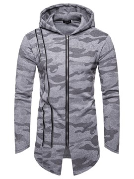 Ericdress Camouflage Asymmetric Zipper Mens Casual Hoodies