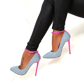 Ericdress Canvas Color Block Pointed Toe Stiletto Heel Chic Pumps