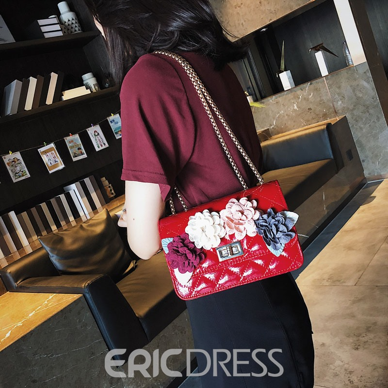 Ericdress Floral Quilted Lining Chain Crossbody Bag