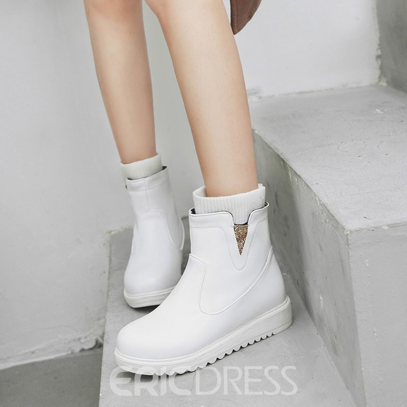 Ericdress Patchwork Wedge Heel Slip-On Snow Boots