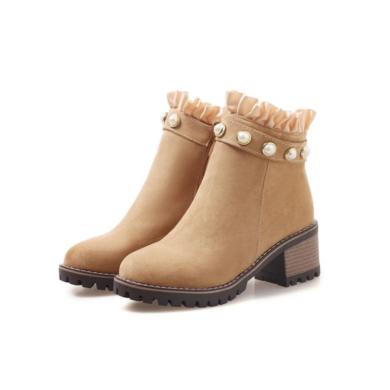 Ericdress Beads Ruffles Side Zipper Chunky Heel Women's Boots