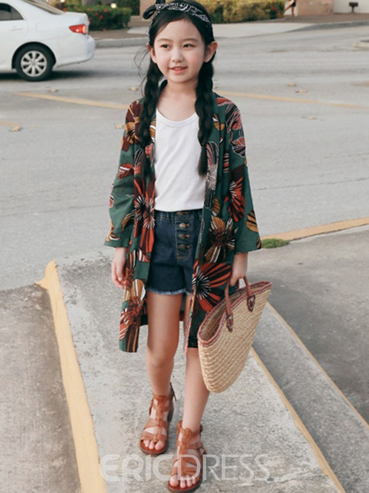 Ericdress Floral Print Lace Up Cardigan Thin Girl's Outwears