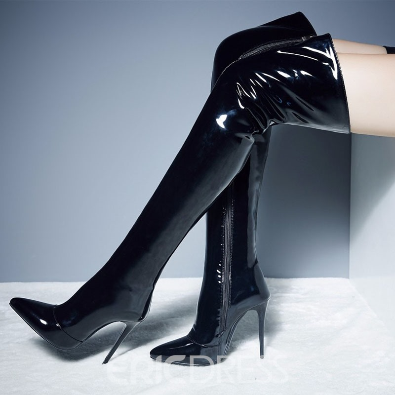 Ericdress PU Pointed Toe Stiletto Heel Over The Knee Boots