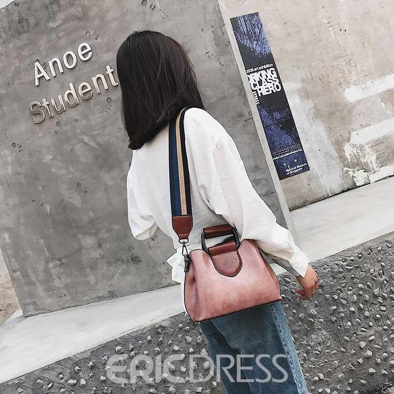 Ericdress Rectangle Color Block Soft Crossbody Bag