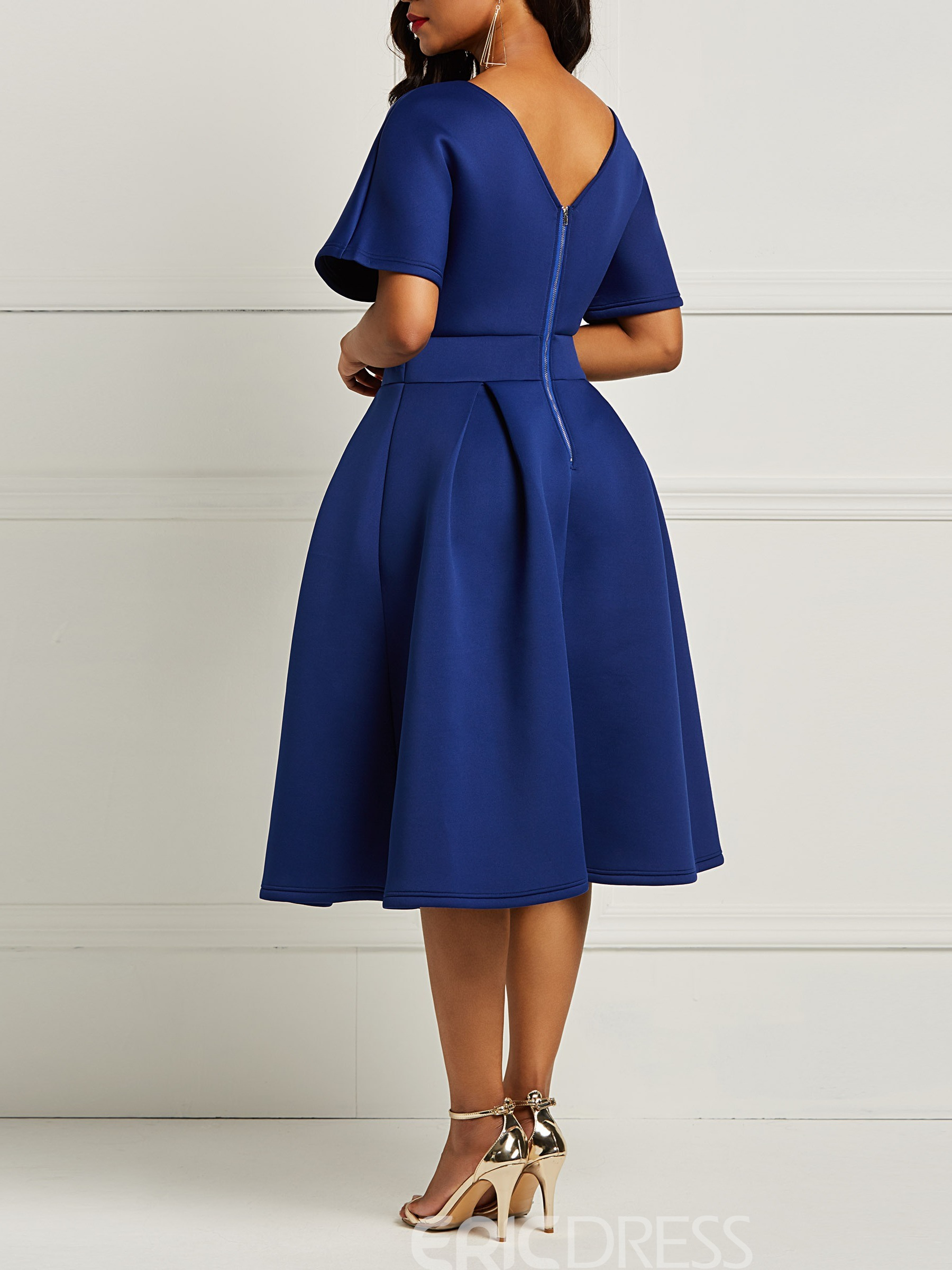 Ericdress A-Line Half Sleeves Plain Women's Dress
